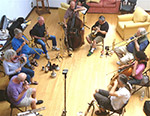 August 2014 Ragdale Foundation with the addition of Dorothy Martirano, violin; Tomeka Reid, cello; Armand Beaudoin, bass and Howie Smith, sax