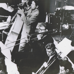 Lead trombone with The North Texas Lab Band and guest, Maynard Ferguson, about 1960