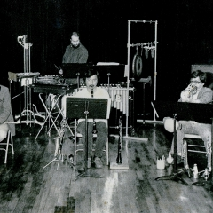 Tone Road Ramblers rehearsal at Roulette, NYC with David Sasaki, clarinet, and Michael Udow, percussion
