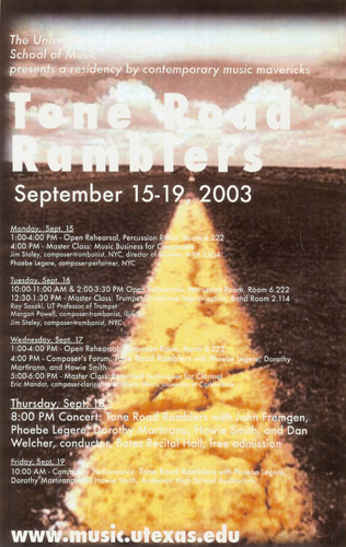 Tone Road Ramblers September 2003 U of Texas poster